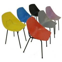 Set of 6 Coquillage chairs in plastic and metal - 1960s