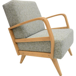 German mid-century armchair in oak and Baltic fabric - 1970s