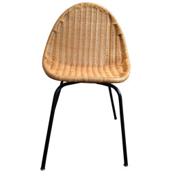 Set of 8 chairs in rattan, Joseph-André MOTTE - 1950s