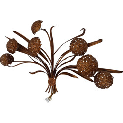 Mid-century floral wall lamp in brass - 1970s