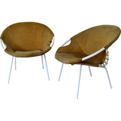 Pair of German Lusch & Co lounge chairs in brown leather - 1960s