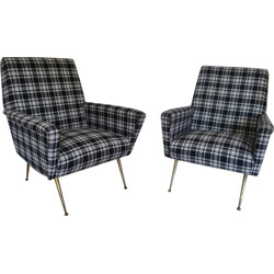 Pair of reupholstered Italian armchairs in white and black fabric - 1950s