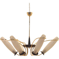 Italian chandelier in glass and brass - 1950s
