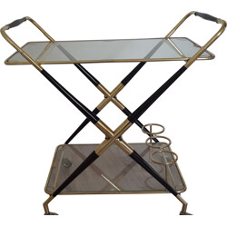 Folding serving cart in glass and beech, Cesare LACCA - 1950s