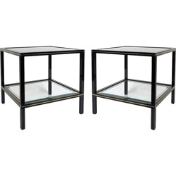 Pair of French side tables in glass and metal, Pierre VANDEL - 1970s