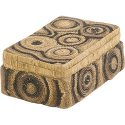 Modern geometrical patterns box in straw - 1950s