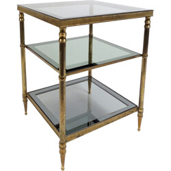 French side table in brass and glass - 1960