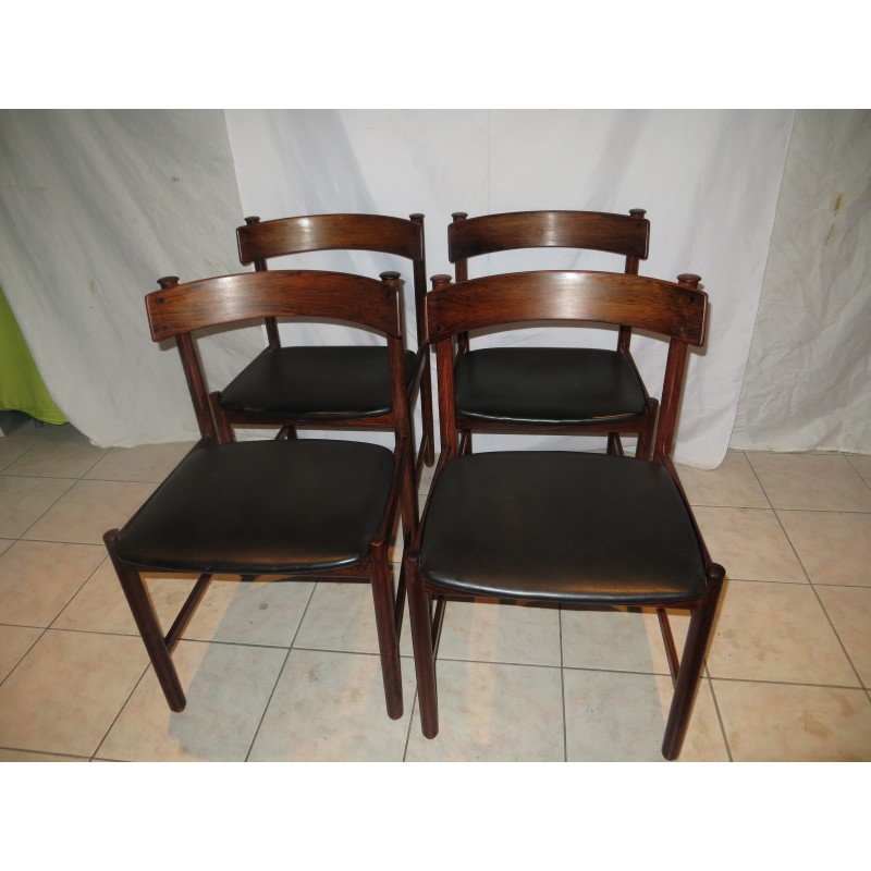 Remarkable Set Of 4 Danish Dining Chairs In Rio Rosewood And Leatherette 1960S Unemploymentrelief Wooden Chair Designs For Living Room Unemploymentrelieforg
