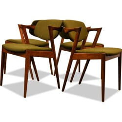 Set of 4 Skovmand & Andersen chairs in teak and fabric, Kai KIRSTIANSEN - 1960s
