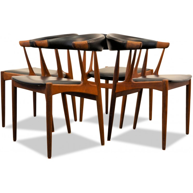 Set Of 4 Danish Dining Chairs In Teak And Black Leatherette Johannes Andersen 1960s