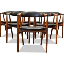 Set of 6 Danish Farstrup chairs in teak and black leatherette - 1960s