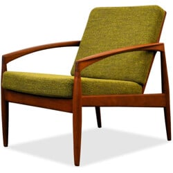 Danish armchair in teak and olive green fabric, Kai KRISTIANSEN - 1960s