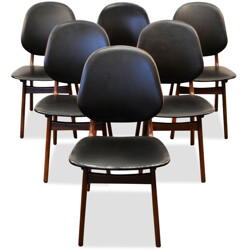 Set of 6 Danish Boltinge dining chairs in teak and black skai - 1960s