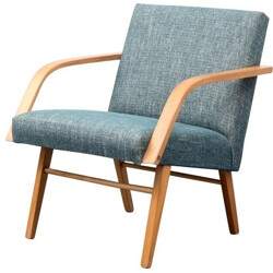 Vintage armchair in beech with new fabric - 1960s