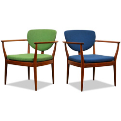Pair of Danish armchairs in teak and blue and green fabric - 1960s