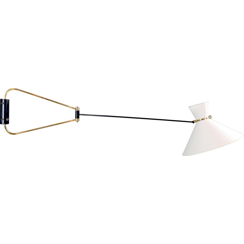 French wall lamp in black lacquered brass, Robert MATHIEU - 1960s