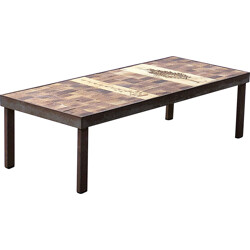 Mid-century coffee table in steel and ceramic, Roger CAPRON - 1950s
