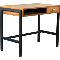 Small desk in black lacquered beech and oak - 1950s