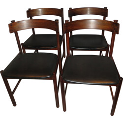 Set of 4 Danish dining chairs in Rio rosewood and leatherette - 1960s