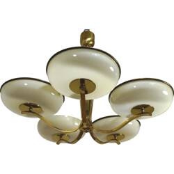 Vintage 5-armed pendant lamp with brass - 1940s