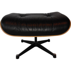 Vintage Vitra ottoman in leather and rosewood, Charles & Ray EAMES - 2000s