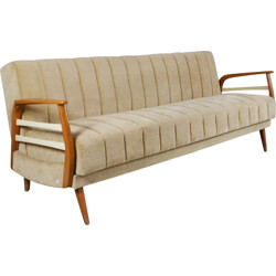 Mid century German convertible 3 seater sofa in light beige velour - 1970s