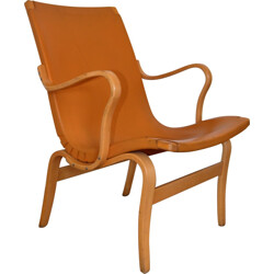"Dux ""Eva"" armchair in bentwood and orange leather, Bruno MATTHSON - 1970s"