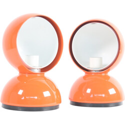 Pair of orange Artemide table lamps in aluminium, Vico MAGISTRETTI - 1960s