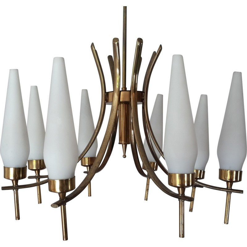Italian tulip chandelier in glass and brass 1950s design market italian tulip chandelier in glass and brass 1950s aloadofball Image collections