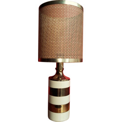 Italian table lamp with woven shade - 1970s