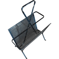 Mid century magazine rack in perforated metal - 1950s