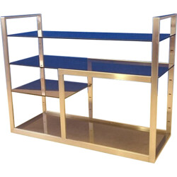 Vintage shelves in steel and smoked glass - 1970s
