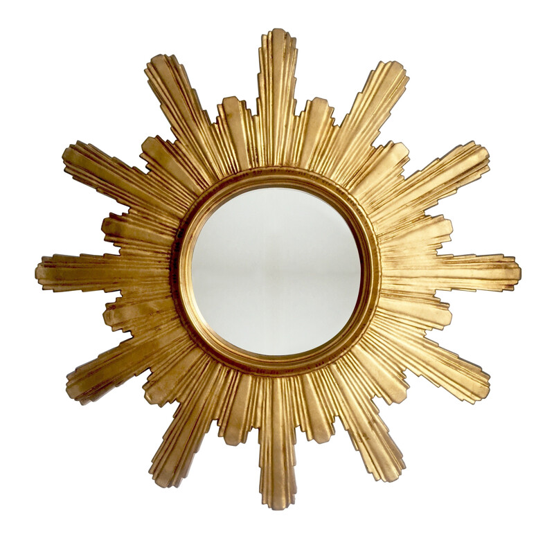 Large carved wooden sunburst mirror - 1960s