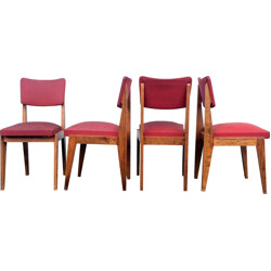 Set of 4 chairs in solid oak and red skai - 1950s
