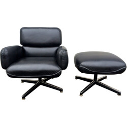 Knoll lounge chair with ottoman in black leather, Otto ZAPF - 1970s