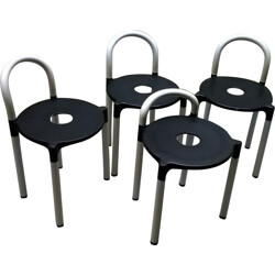 Set of 4 Kartell stools in lacquered metal and plastic, Anna CASTELLI FERRIERI - 1970s