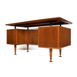 "Dutch Zijlstra ""Poly-Z"" desk in walnut and brass, A. A. PATIJN - 1950s"