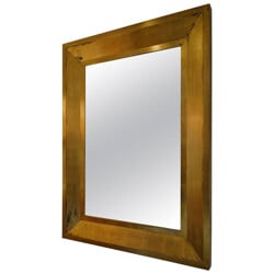 Large golden wood mirror - 1980s