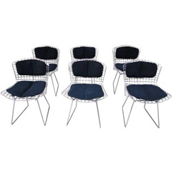 Set of 6 Knoll chairs in steel and black fabric, Harry BERTOIA - 1980s