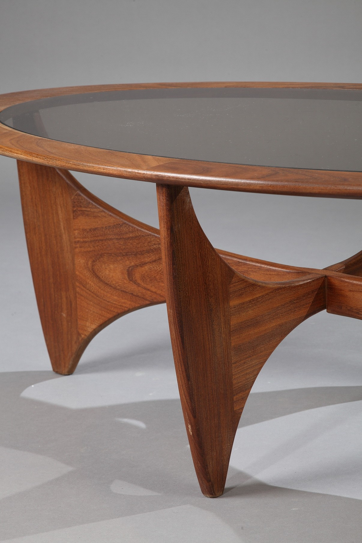 Oval G Plan Astro Coffee Table In Teak And Smoked Glass