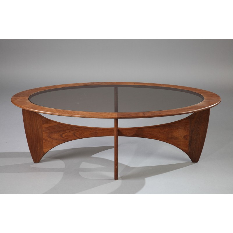 """G Plan Vintage Coffee Tables: Oval G-Plan """"Astro"""" Coffee Table In Teak And Smoked Glass"""