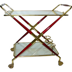 Mid-century serving table in lacquered wood and brass, Cesare LACCA - 1950s