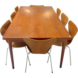 "Set of table and 8 ""Série 7"" chairs in teak, Arne JACOBSEN & Niels O. MOLLER - 1970s"
