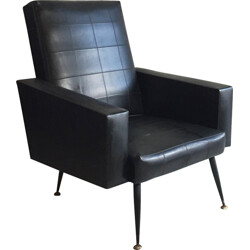French armchair in black leatherette and brass - 1960s