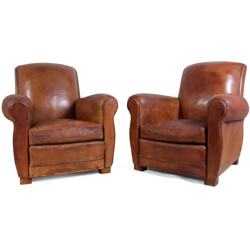 Pair of French armchairs in brown leather - 1940s