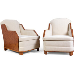 Pair of French armchairs in walnut and Impala fabric - 1930s