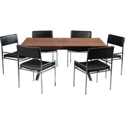 Set of Danish table and 6 chairs in Rio rosewood, Poul NORREKLIT - 1960s