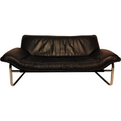 Swedish 2 seater sofa in leather - 1970s