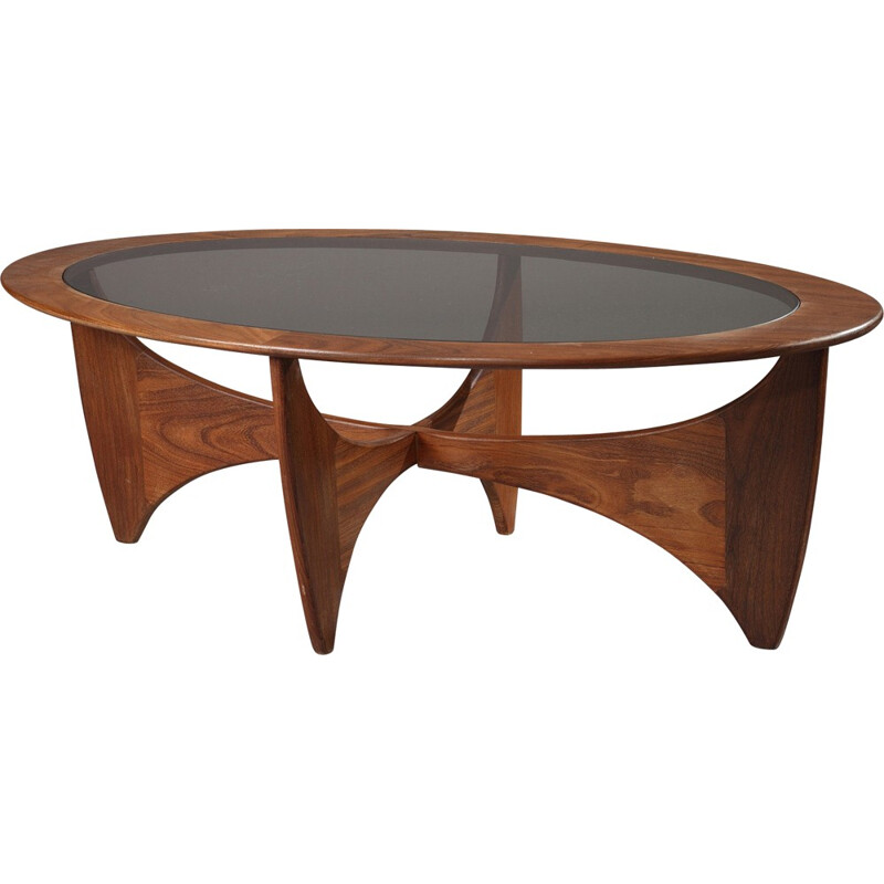 """Oval G-Plan """"Astro"""" coffee table in teak and smoked glass, Victor WILKINS - 1960s"""