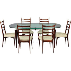 Set of dining table and 6 chairs in mahogany and glass - 1960s